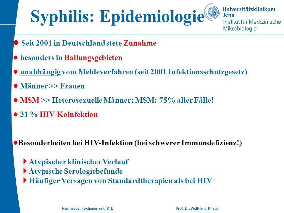 Institut für Medizinische Mikrobiologie Harnwegsinfektionen und STD Prof. Dr. Wolfgang Pfister Syphilis: Epidemiologie l Seit 2001 in Deutschland stet