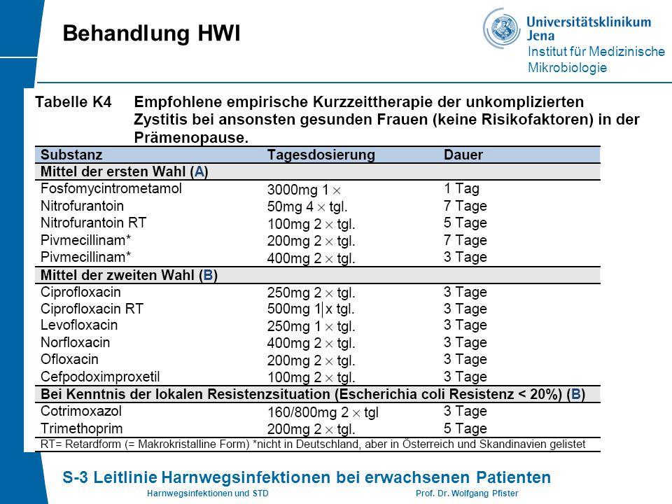 Institut für Medizinische Mikrobiologie Harnwegsinfektionen und STD Prof. Dr. Wolfgang Pfister Behandlung HWI S-3 Leitlinie Harnwegsinfektionen bei er