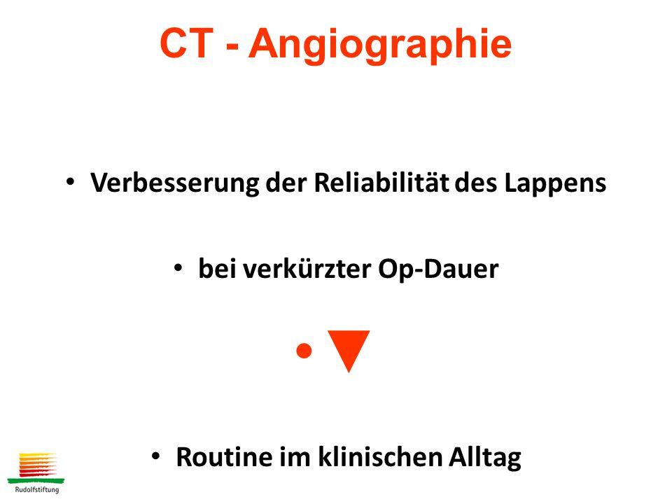 Verbesserung der Reliabilität des Lappens bei verkürzter Op-Dauer ▼ Routine im klinischen Alltag CT - Angiographie