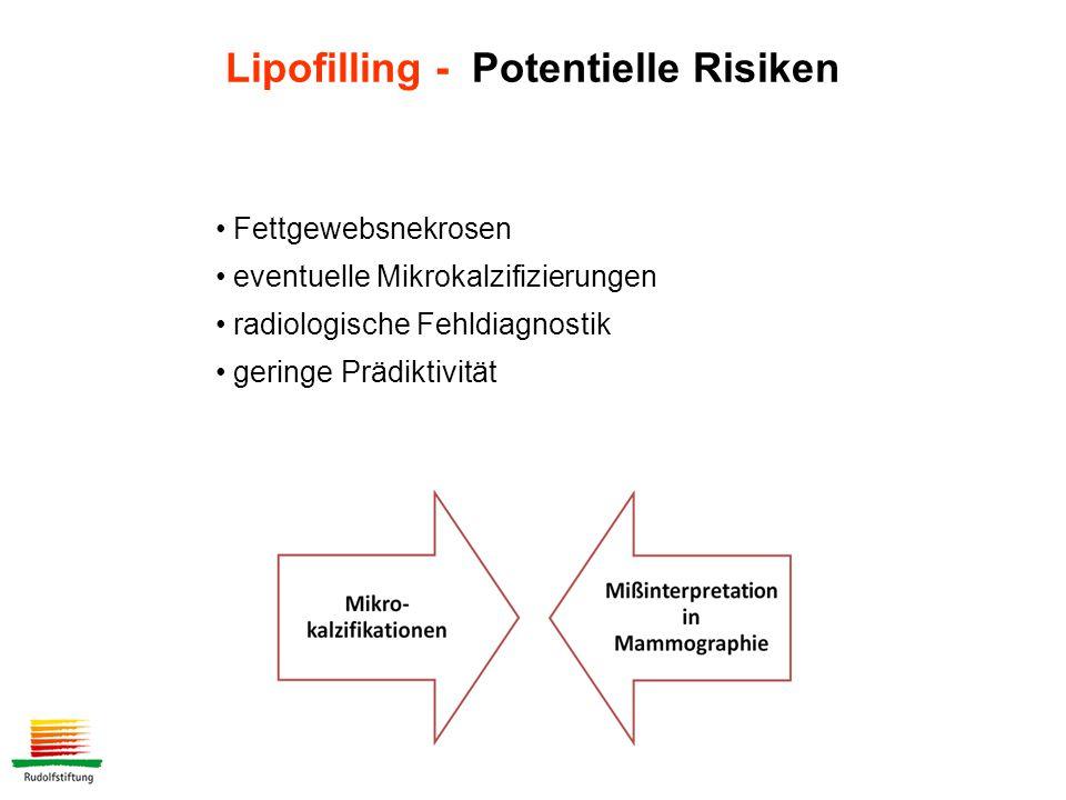 Fettgewebsnekrosen eventuelle Mikrokalzifizierungen radiologische Fehldiagnostik geringe Prädiktivität Lipofilling - Potentielle Risiken
