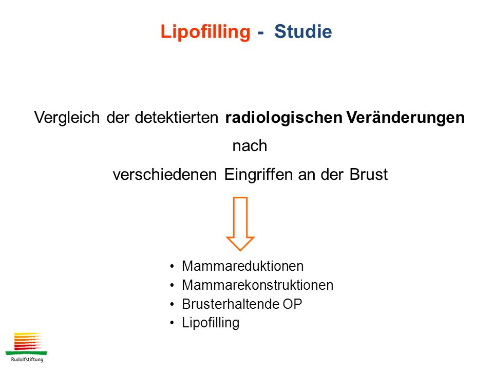 Vergleich der detektierten radiologischen Veränderungen nach verschiedenen Eingriffen an der Brust Mammareduktionen Mammarekonstruktionen Brusterhaltende OP Lipofilling Lipofilling - Studie