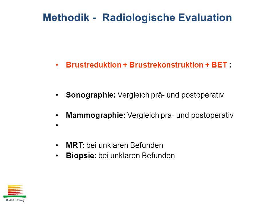 Brustreduktion + Brustrekonstruktion + BET : Sonographie: Vergleich prä- und postoperativ Mammographie: Vergleich prä- und postoperativ MRT: bei unklaren Befunden Biopsie: bei unklaren Befunden Methodik - Radiologische Evaluation