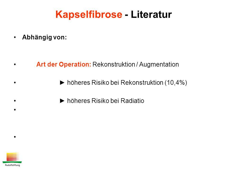 Abhängig von: Art der Operation: Rekonstruktion / Augmentation ► höheres Risiko bei Rekonstruktion (10,4%) ► höheres Risiko bei Radiatio Kapselfibrose ohne Radiatio: 0% – 40% Kapselfibrose nach Radiatio: 32% – 70% Kapselfibrose - Literatur