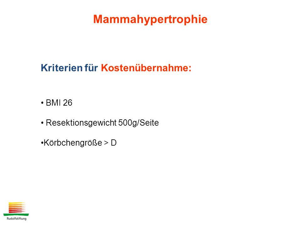 Mammahypertrophie Kriterien für Kostenübernahme: BMI 26 Resektionsgewicht 500g/Seite Körbchengröße > D