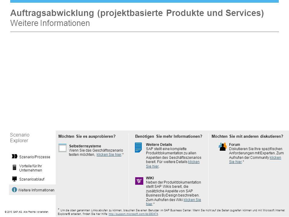 ©© 2013 SAP AG. Alle Rechte vorbehalten. Weitere Informationen Auftragsabwicklung (projektbasierte Produkte und Services) Weitere Informationen Scenar