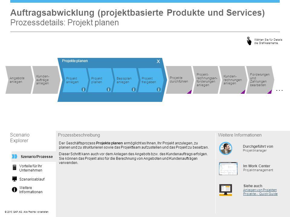 ©© 2013 SAP AG. Alle Rechte vorbehalten. Auftragsabwicklung (projektbasierte Produkte und Services) Prozessdetails: Projekt planen Scenario Explorer P