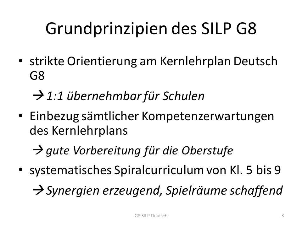 Grundprinzipien des SILP G8 strikte Orientierung am Kernlehrplan Deutsch G8  1:1 übernehmbar für Schulen Einbezug sämtlicher Kompetenzerwartungen des