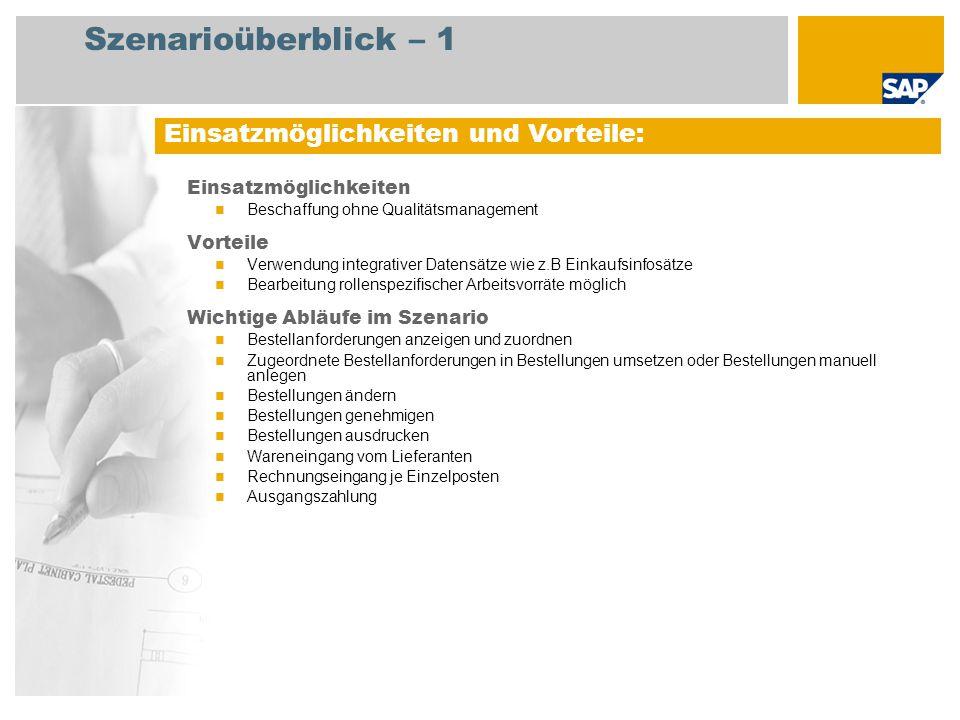Szenarioüberblick – 2 Erforderlich Enhancement package 5 for SAP ERP 6.0 An den Abläufen beteiligte Benutzerrollen Einkaufsleiter Einkäufer Lagermitarbeiter Kreditorenbuchhalter Erforderliche SAP-Anwendungen: