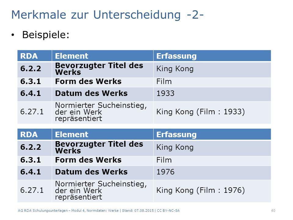 Merkmale zur Unterscheidung -2- Beispiele: AG RDA Schulungsunterlagen – Modul 4, Normdaten: Werke | Stand: 07.08.2015 | CC BY-NC-SA 40 RDAElementErfassung 6.2.2 Bevorzugter Titel des Werks King Kong 6.3.1Form des WerksFilm 6.4.1Datum des Werks1933 6.27.1 Normierter Sucheinstieg, der ein Werk repräsentiert King Kong (Film : 1933) RDAElementErfassung 6.2.2 Bevorzugter Titel des Werks King Kong 6.3.1Form des WerksFilm 6.4.1Datum des Werks1976 6.27.1 Normierter Sucheinstieg, der ein Werk repräsentiert King Kong (Film : 1976)