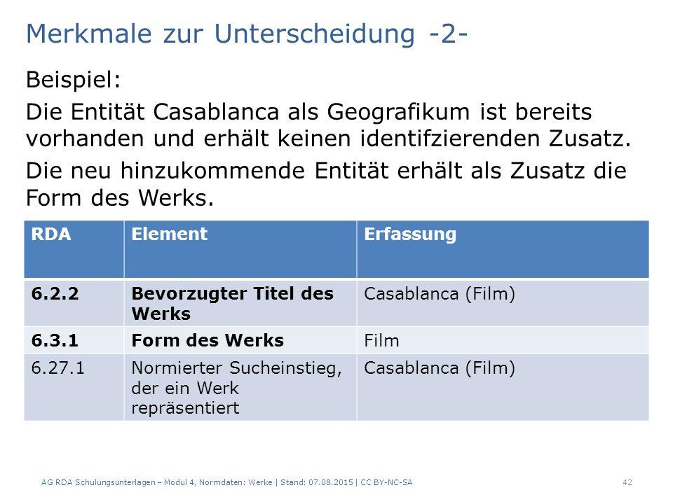 Merkmale zur Unterscheidung -2- Beispiel: Die Entität Casablanca als Geografikum ist bereits vorhanden und erhält keinen identifzierenden Zusatz.