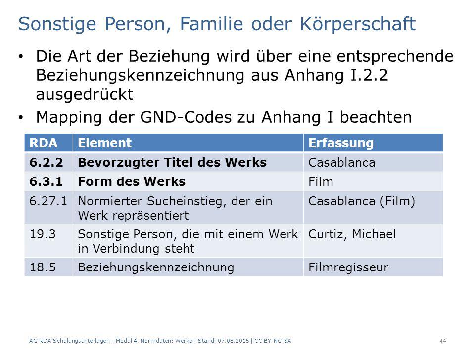 Sonstige Person, Familie oder Körperschaft Die Art der Beziehung wird über eine entsprechende Beziehungskennzeichnung aus Anhang I.2.2 ausgedrückt Mapping der GND-Codes zu Anhang I beachten AG RDA Schulungsunterlagen – Modul 4, Normdaten: Werke | Stand: 07.08.2015 | CC BY-NC-SA 44 RDAElementErfassung 6.2.2Bevorzugter Titel des WerksCasablanca 6.3.1Form des WerksFilm 6.27.1Normierter Sucheinstieg, der ein Werk repräsentiert Casablanca (Film) 19.3Sonstige Person, die mit einem Werk in Verbindung steht Curtiz, Michael 18.5BeziehungskennzeichnungFilmregisseur