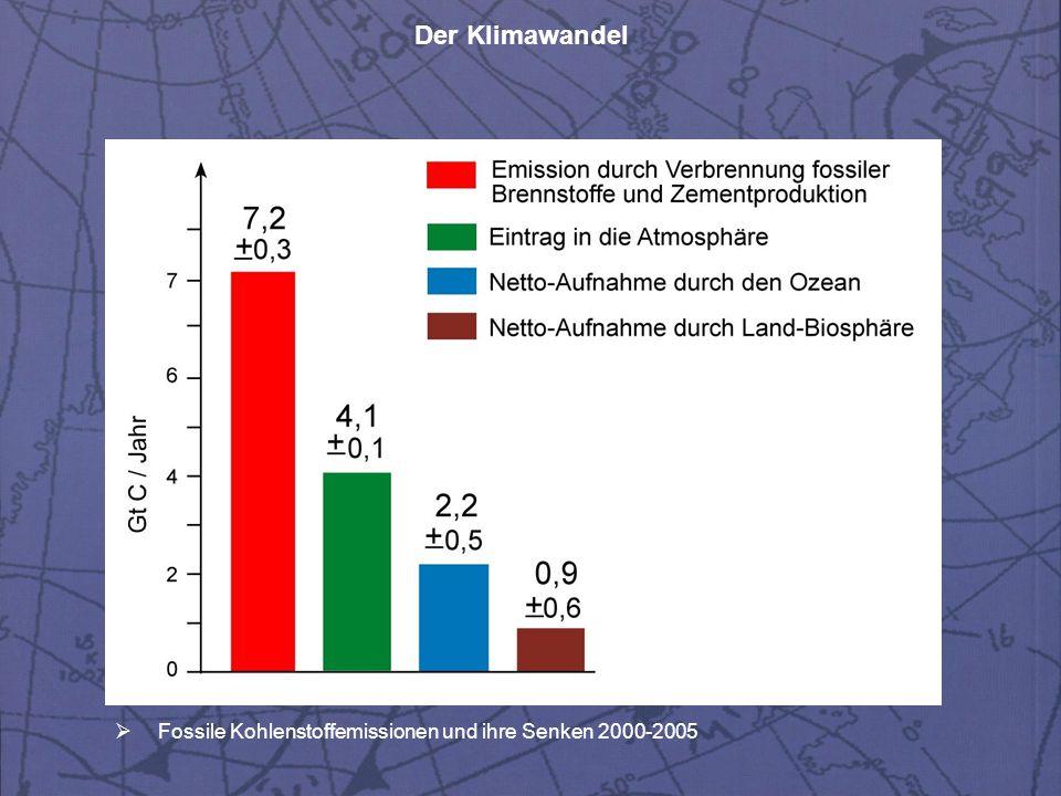 Der Klimawandel  Fossile Kohlenstoffemissionen und ihre Senken 2000-2005