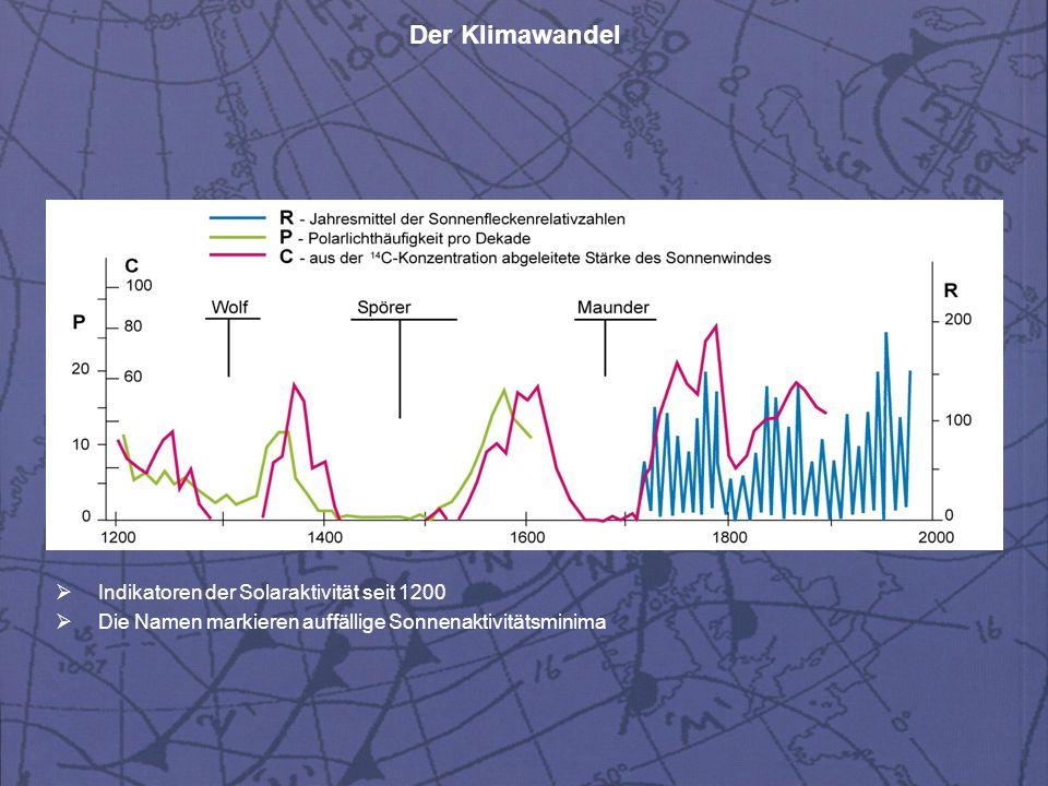 Der Klimawandel  Schematische Darstellung der globalen thermohalinen Zirkulation  Oberflächennahe Strömungen in rot, Tiefenströmungen in blau, Bodenströmungen in violett  Gelbfarbige Ovale indizieren Regionen der Tiefenwasserbildung.