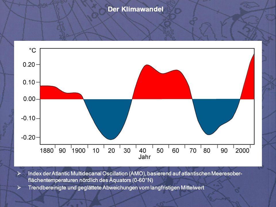 Der Klimawandel  Index der Atlantic Multidecanal Oscillation (AMO), basierend auf atlantischen Meeresober- flächentemperaturen nördlich des Äquators