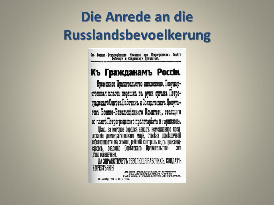 Die Anrede an die Russlandsbevoelkerung