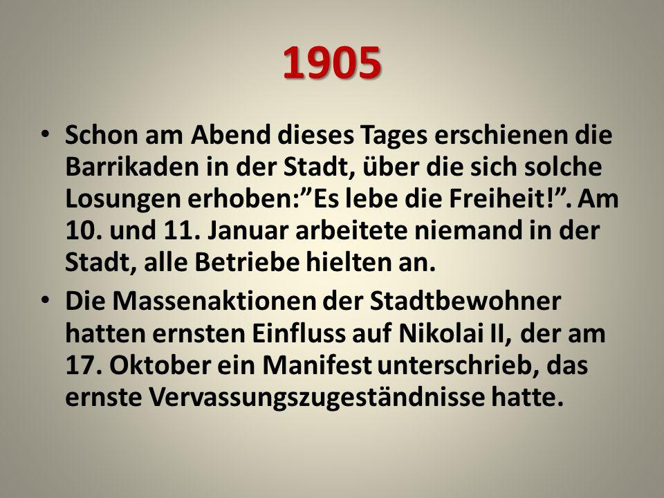 1917 Die Revolutionsniederlage gab der Gesellschaft bis 1917 zehnjährige Rast, aber liess viele Wiedersprüche, die der erste Weltkrieg erschwerte.