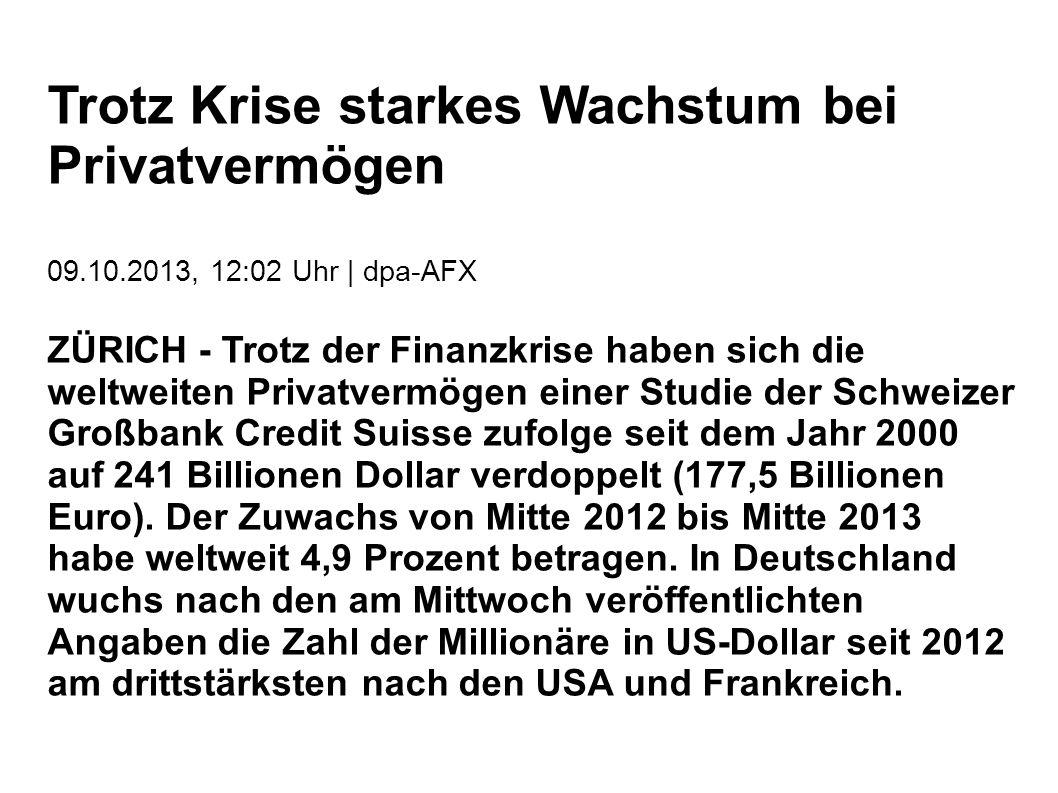 Trotz Krise starkes Wachstum bei Privatvermögen 09.10.2013, 12:02 Uhr | dpa-AFX ZÜRICH - Trotz der Finanzkrise haben sich die weltweiten Privatvermögen einer Studie der Schweizer Großbank Credit Suisse zufolge seit dem Jahr 2000 auf 241 Billionen Dollar verdoppelt (177,5 Billionen Euro).