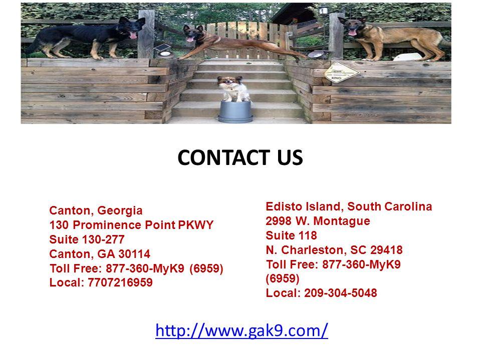 Canton, Georgia 130 Prominence Point PKWY Suite 130-277 Canton, GA 30114 Toll Free: 877-360-MyK9 (6959) Local: 7707216959 Edisto Island, South Carolin