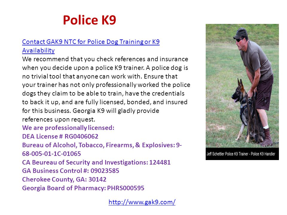 Police K9 Contact GAK9 NTC for Police Dog Training or K9 Availability We recommend that you check references and insurance when you decide upon a police K9 trainer.