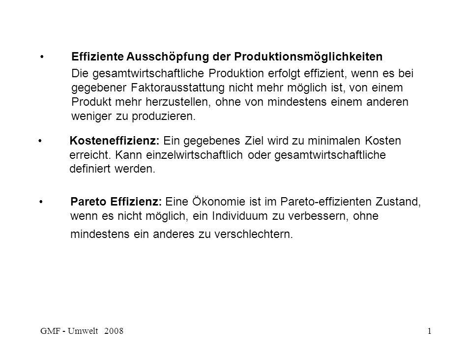 GMF - Umwelt 20081 Effiziente Ausschöpfung der Produktionsmöglichkeiten Die gesamtwirtschaftliche Produktion erfolgt effizient, wenn es bei gegebener Faktorausstattung nicht mehr möglich ist, von einem Produkt mehr herzustellen, ohne von mindestens einem anderen weniger zu produzieren.