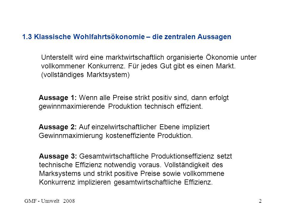 GMF - Umwelt 20082 1.3 Klassische Wohlfahrtsökonomie – die zentralen Aussagen Unterstellt wird eine marktwirtschaftlich organisierte Ökonomie unter vo