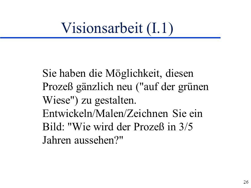 26 Visionsarbeit (I.1) Sie haben die Möglichkeit, diesen Prozeß gänzlich neu (