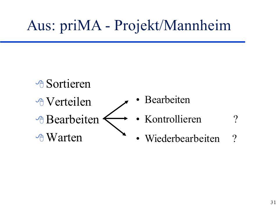 31 8 Sortieren 8 Verteilen 8 Bearbeiten 8 Warten Aus: priMA - Projekt/Mannheim Bearbeiten Kontrollieren ? Wiederbearbeiten ?