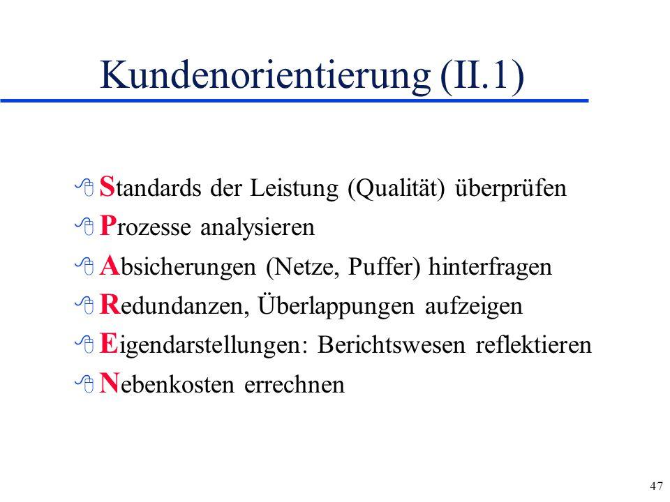 47 Kundenorientierung (II.1) 8 S tandards der Leistung (Qualität) überprüfen 8 P rozesse analysieren 8 A bsicherungen (Netze, Puffer) hinterfragen 8 R