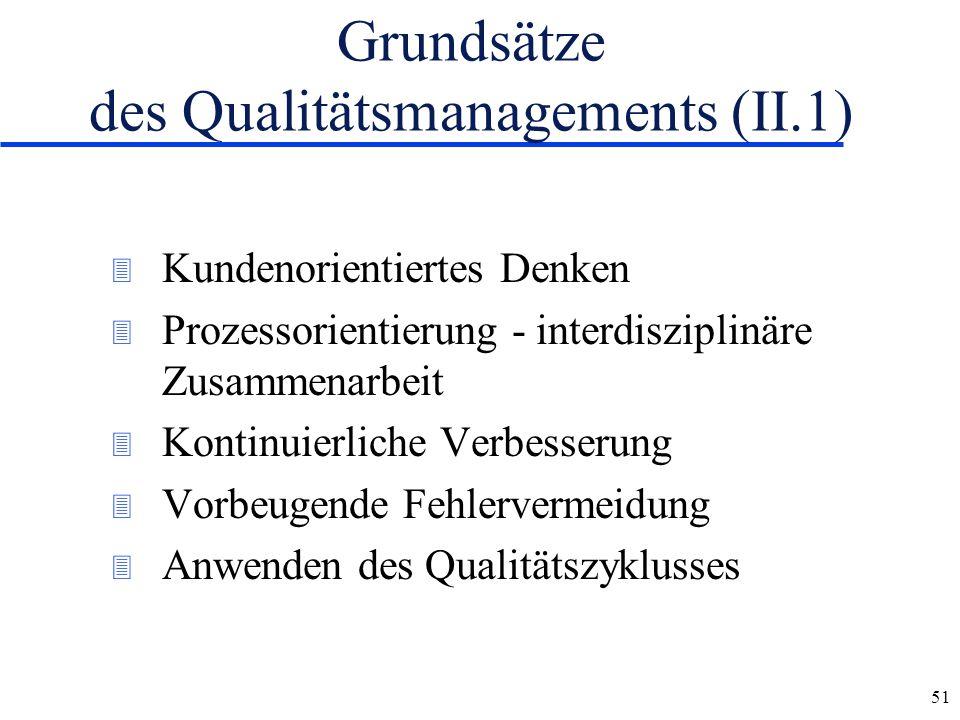 51 Grundsätze des Qualitätsmanagements (II.1) 3 Kundenorientiertes Denken 3 Prozessorientierung - interdisziplinäre Zusammenarbeit 3 Kontinuierliche V