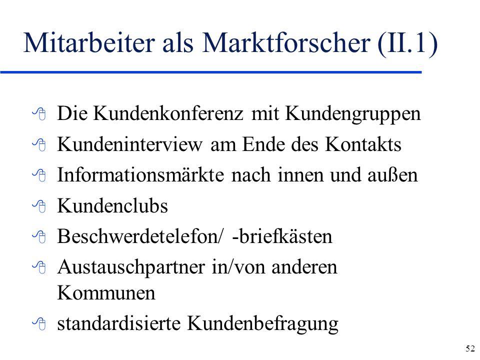 52 Mitarbeiter als Marktforscher (II.1) 8 Die Kundenkonferenz mit Kundengruppen 8 Kundeninterview am Ende des Kontakts 8 Informationsmärkte nach innen