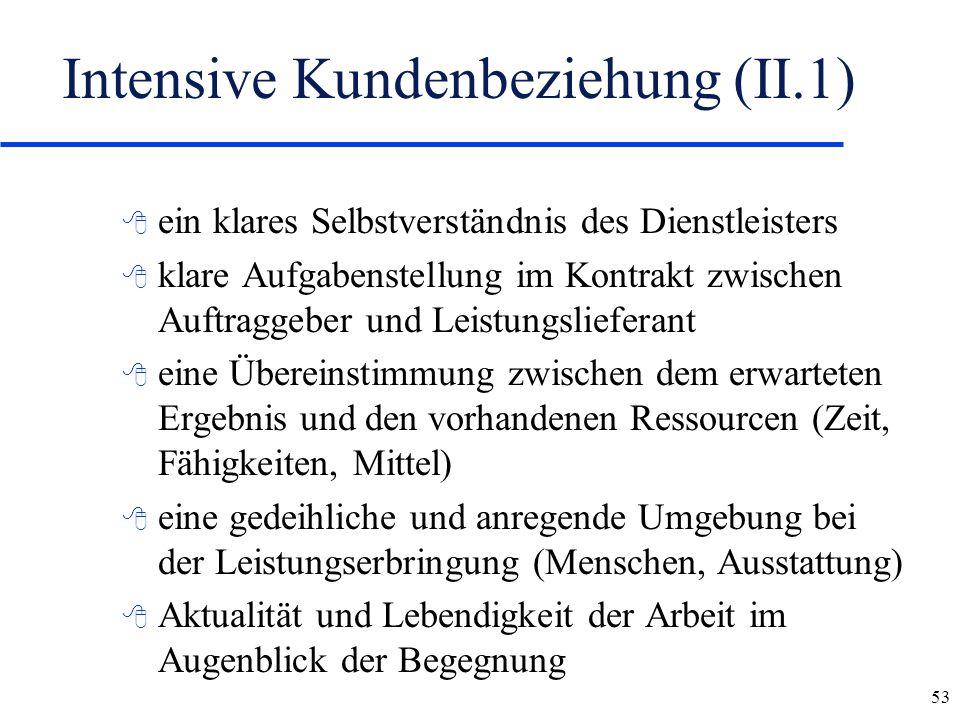 53 Intensive Kundenbeziehung (II.1) 8 ein klares Selbstverständnis des Dienstleisters 8 klare Aufgabenstellung im Kontrakt zwischen Auftraggeber und L