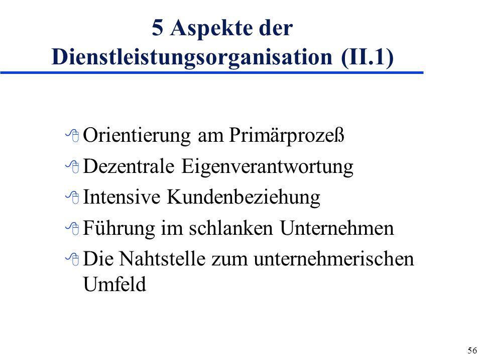 56 5 Aspekte der Dienstleistungsorganisation (II.1) 8 Orientierung am Primärprozeß 8 Dezentrale Eigenverantwortung 8 Intensive Kundenbeziehung 8 Führu