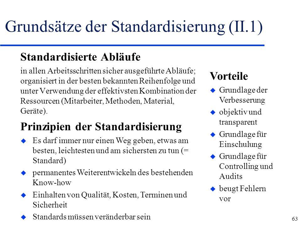 63 Grundsätze der Standardisierung (II.1) Standardisierte Abläufe in allen Arbeitsschritten sicher ausgeführte Abläufe; organisiert in der besten beka