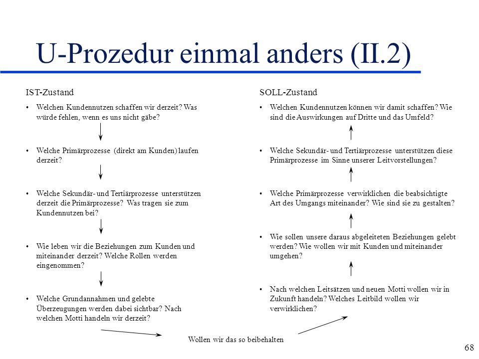 68 U-Prozedur einmal anders (II.2) IST-Zustand Welchen Kundennutzen schaffen wir derzeit? Was würde fehlen, wenn es uns nicht gäbe? Welche Primärproze