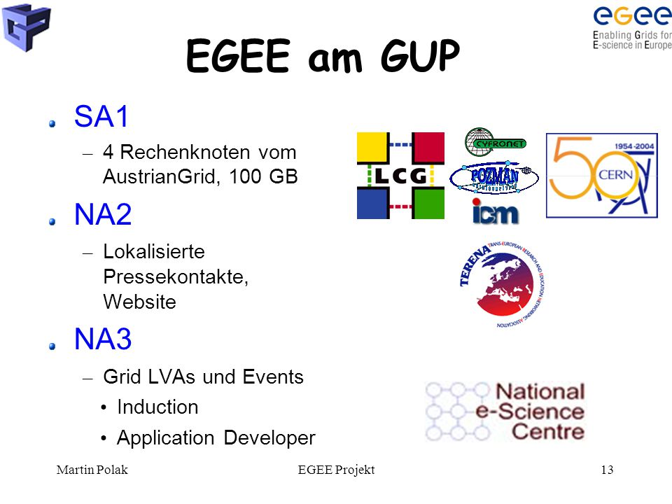 Martin PolakEGEE Projekt13 EGEE am GUP SA1 – 4 Rechenknoten vom AustrianGrid, 100 GB NA2 – Lokalisierte Pressekontakte, Website NA3 – Grid LVAs und Events Induction Application Developer