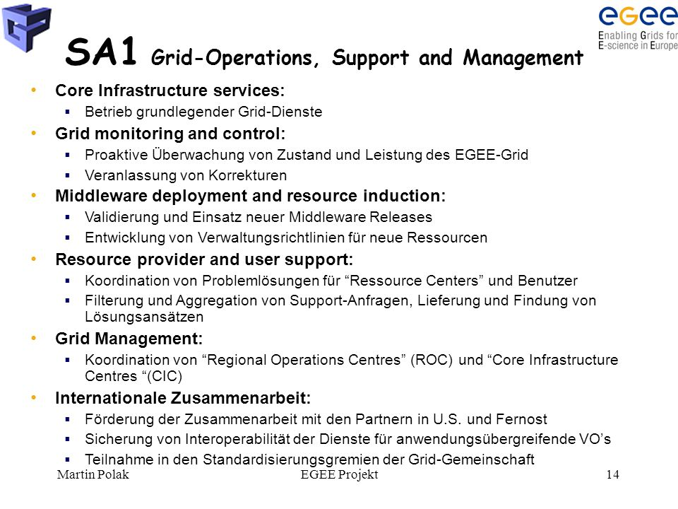 Martin PolakEGEE Projekt14 SA1 Grid-Operations, Support and Management Core Infrastructure services:  Betrieb grundlegender Grid-Dienste Grid monitor