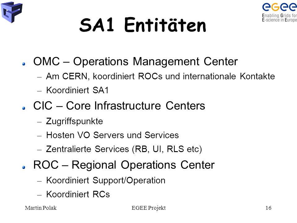 Martin PolakEGEE Projekt16 SA1 Entitäten OMC – Operations Management Center – Am CERN, koordiniert ROCs und internationale Kontakte – Koordiniert SA1 CIC – Core Infrastructure Centers – Zugriffspunkte – Hosten VO Servers und Services – Zentralierte Services (RB, UI, RLS etc) ROC – Regional Operations Center – Koordiniert Support/Operation – Koordiniert RCs