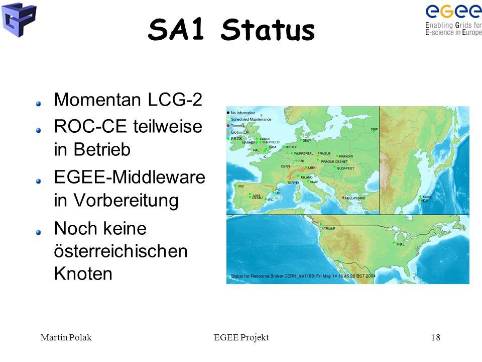 Martin PolakEGEE Projekt18 SA1 Status Momentan LCG-2 ROC-CE teilweise in Betrieb EGEE-Middleware in Vorbereitung Noch keine österreichischen Knoten