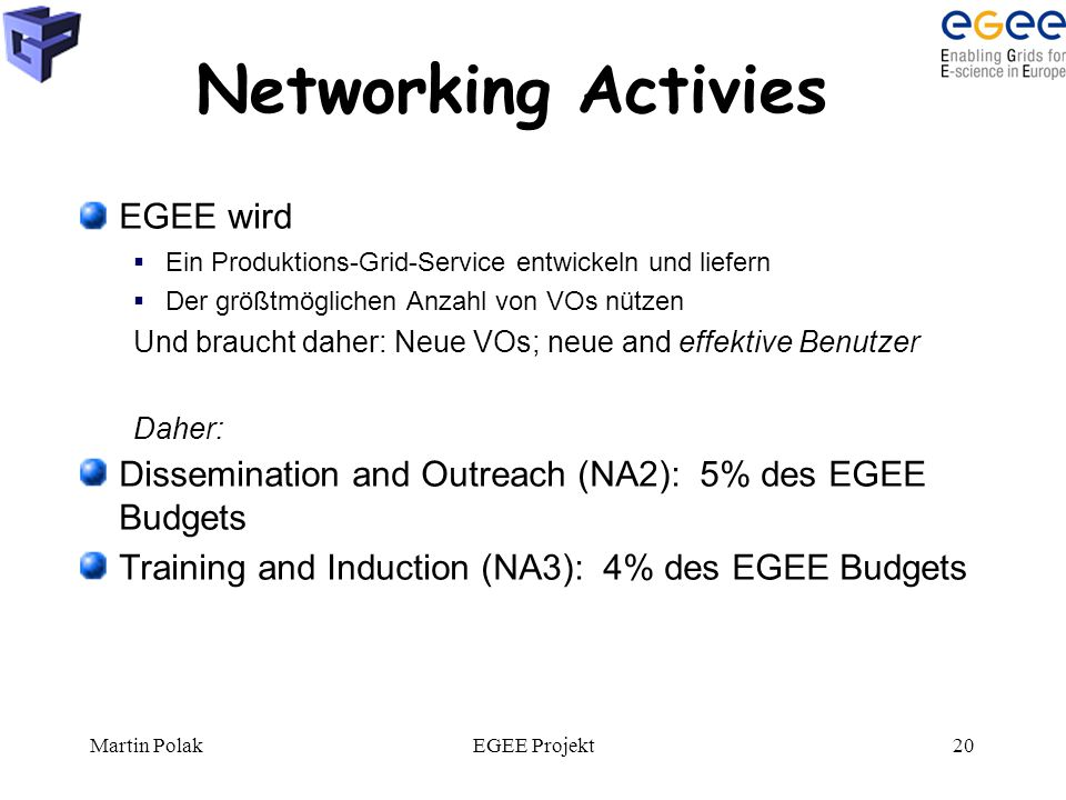 Martin PolakEGEE Projekt20 Networking Activies EGEE wird  Ein Produktions-Grid-Service entwickeln und liefern  Der größtmöglichen Anzahl von VOs nützen Und braucht daher: Neue VOs; neue and effektive Benutzer Daher: Dissemination and Outreach (NA2): 5% des EGEE Budgets Training and Induction (NA3): 4% des EGEE Budgets