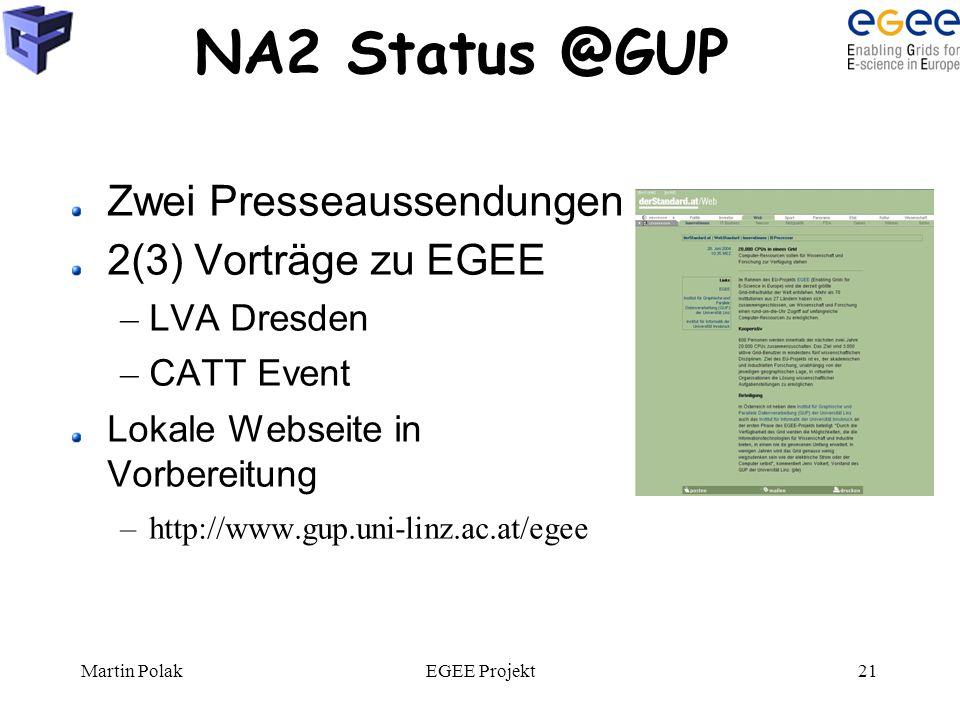 Martin PolakEGEE Projekt21 NA2 Status @GUP Zwei Presseaussendungen 2(3) Vorträge zu EGEE – LVA Dresden – CATT Event Lokale Webseite in Vorbereitung –http://www.gup.uni-linz.ac.at/egee