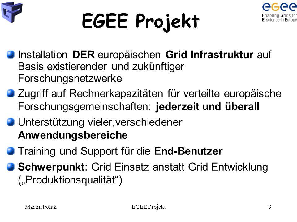 Martin PolakEGEE Projekt3 Installation DER europäischen Grid Infrastruktur auf Basis existierender und zukünftiger Forschungsnetzwerke Zugriff auf Rec