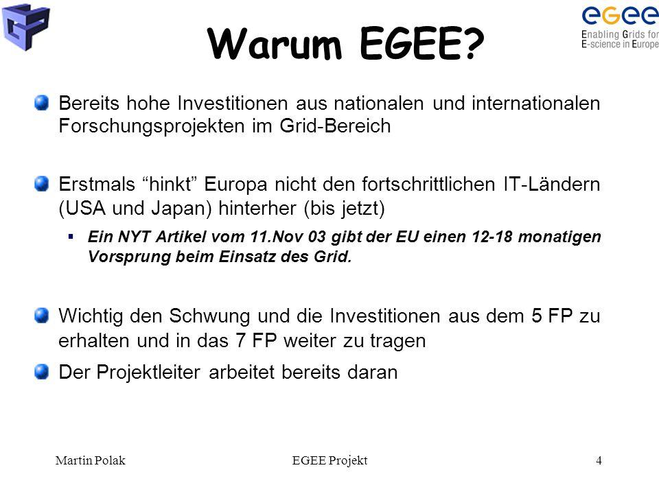 """Martin PolakEGEE Projekt4 Warum EGEE? Bereits hohe Investitionen aus nationalen und internationalen Forschungsprojekten im Grid-Bereich Erstmals """"hink"""