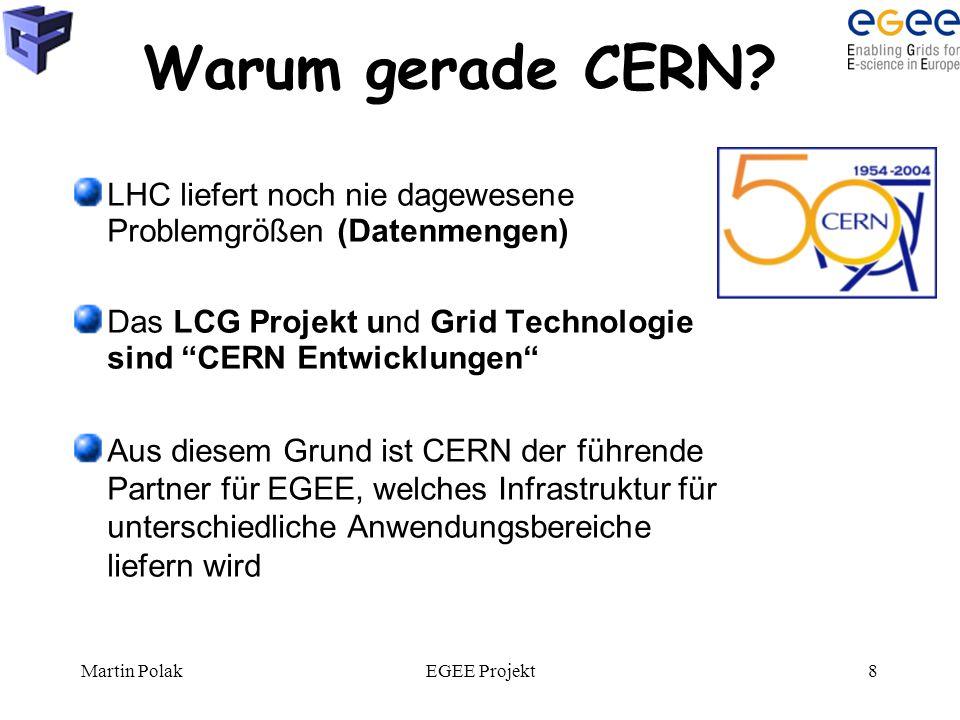 """Martin PolakEGEE Projekt8 Warum gerade CERN? LHC liefert noch nie dagewesene Problemgrößen (Datenmengen) Das LCG Projekt und Grid Technologie sind """"CE"""