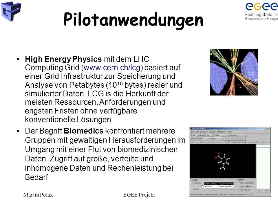 Martin PolakEGEE Projekt9 Pilotanwendungen  High Energy Physics mit dem LHC Computing Grid (www.cern.ch/lcg) basiert auf einer Grid Infrastruktur zur Speicherung und Analyse von Petabytes (10 15 bytes) realer und simulierter Daten.