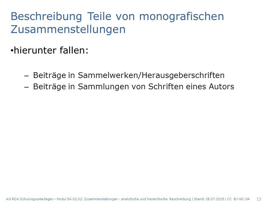 Beschreibung Teile von monografischen Zusammenstellungen hierunter fallen: – Beiträge in Sammelwerken/Herausgeberschriften – Beiträge in Sammlungen vo