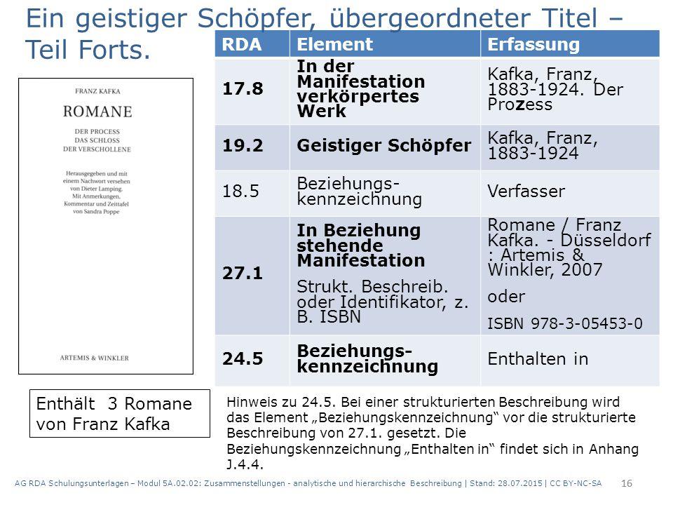 AG RDA Schulungsunterlagen – Modul 5A.02.02: Zusammenstellungen - analytische und hierarchische Beschreibung | Stand: 28.07.2015 | CC BY-NC-SA 16 RDAE