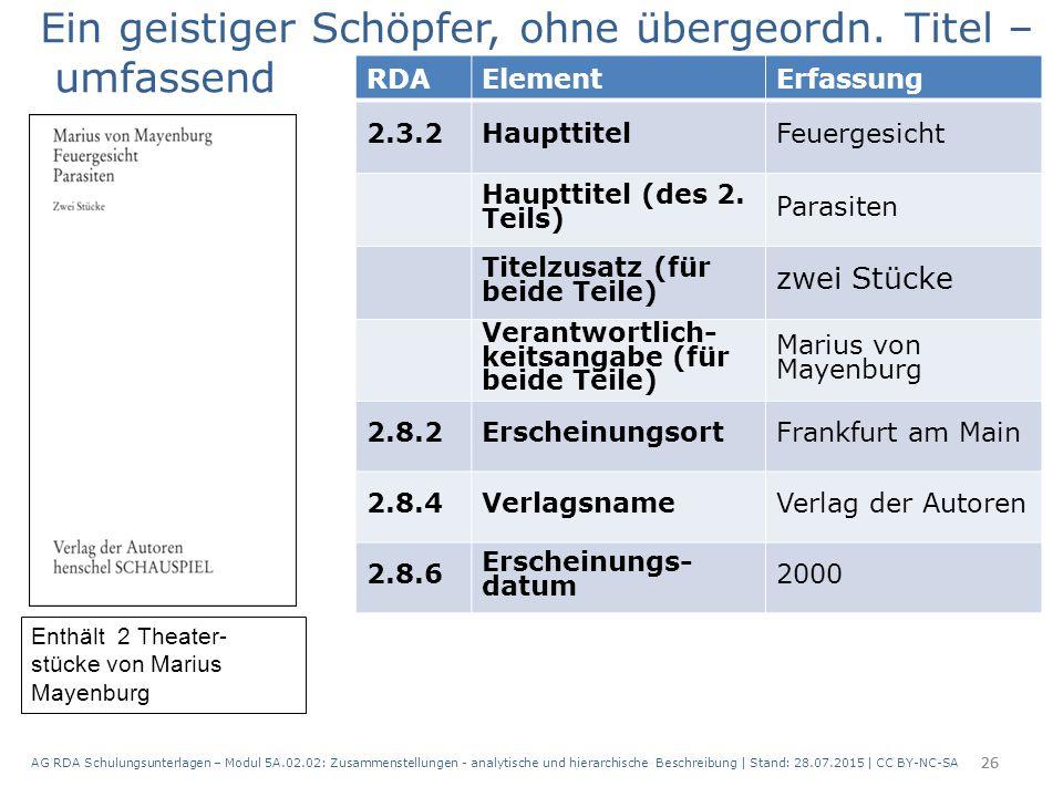 AG RDA Schulungsunterlagen – Modul 5A.02.02: Zusammenstellungen - analytische und hierarchische Beschreibung | Stand: 28.07.2015 | CC BY-NC-SA 26 RDAE