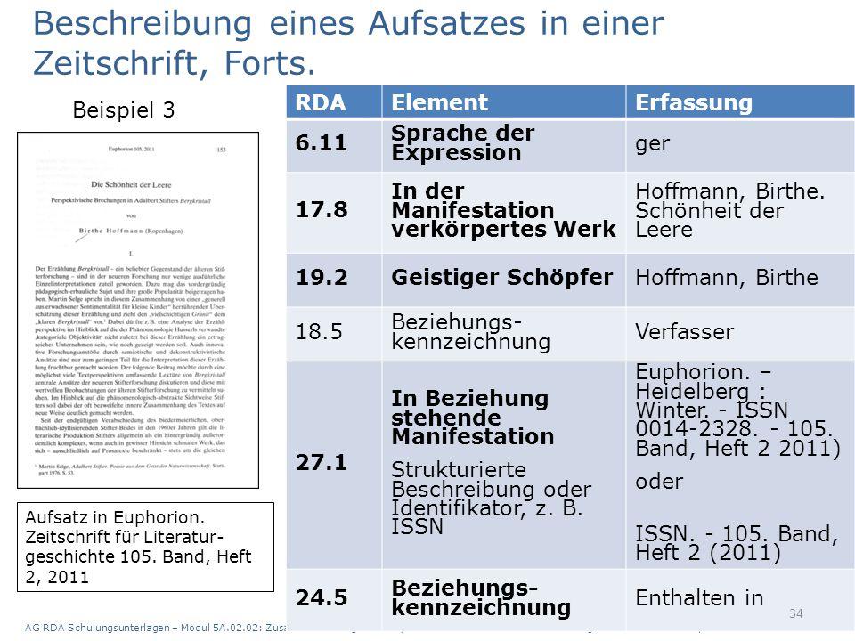 AG RDA Schulungsunterlagen – Modul 5A.02.02: Zusammenstellungen - analytische und hierarchische Beschreibung | Stand: 28.07.2015 | CC BY-NC-SA 34 RDAE
