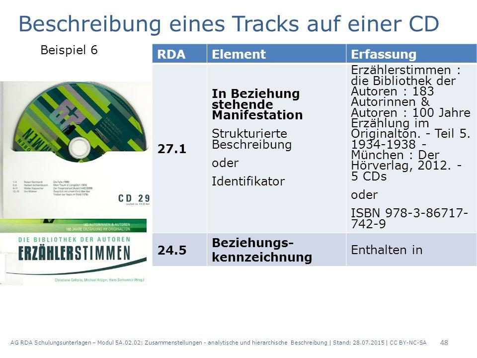 AG RDA Schulungsunterlagen – Modul 5A.02.02: Zusammenstellungen - analytische und hierarchische Beschreibung | Stand: 28.07.2015 | CC BY-NC-SA 48 RDAE