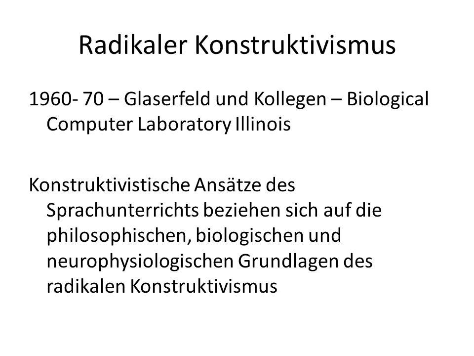 Radikaler Konstruktivismus 1960- 70 – Glaserfeld und Kollegen – Biological Computer Laboratory Illinois Konstruktivistische Ansätze des Sprachunterric